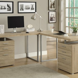 Monarch - 3Pc Desk Set in Natural Reclaimed-Look - Creating a striking look to your home office. This simple yet practical Natural reclaimed-look finish hollow-core 3pc desk set is the perfect addition to your home office. With the addition of the wedge corner unit between the desk, it helps to create space for a more generous work station. The mobile side drawers provide you with space to store office supplies, papers, books, files folders, and plenty more. Use the spacious table top for your computer, a lamp and even some pictures.