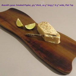 Hand-Carved Smoked Poplar Serving Board $50 SOLD - Functional & Beautiful. These pieces strike a balance between Beauty & Utility, Old & New, Rustic & Refined. Food-bearing surface is smooth, solid & practical. Clean with warm soapy water. FREE 4oz container of 100% FoodSafe BeesWax & Mineral Oil Conditioner with each purchase.