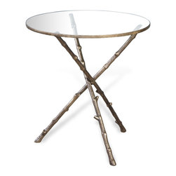 Kathy Kuo Home - Modern Antique Brass Metal Twig Side End Table - Like a spring day, the Cypress Twig Table evokes natural light, feminine charm, and nature's beauty.  Perfect for town or country, this piece fits seamlessly into modern, traditional or  French farmhouse influenced rooms.