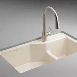 KOHLER - KOHLER K-6411-1-0 Indio Undercounter Double Offset Basin Kitchen Sink - KOHLER K-6411-1-0 Indio Undercounter Double Offset Basin Kitchen Sink with Single-Hole Faucet Drilling in White