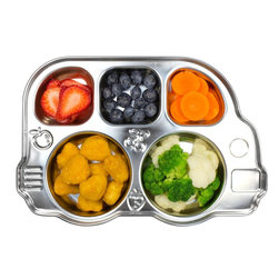 Innobaby Stainless Bus Divided Platter - For the practical-minded parent who doesn't want to see food slide around and does want the sturdiness of stainless steel, I give you this bus.