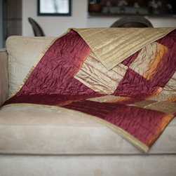 Vintage Sari Throw - Vintage saris are artfully cut and arranged to create this beautiful sari throw. Designed and handcrafted in NYC.