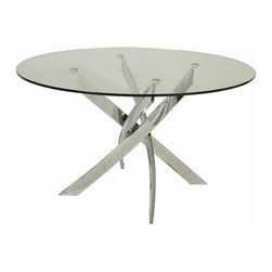 "Pastel Furniture - Pastel Furniture Fahrenheit 51 Inch Round Table w/ Glass Top - The Fahrenheit dining table with 47"" round glass top with a unique and intricate chrome base design. This beautifully made table will add style and beauty to your dining area."