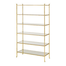 Currey and Company - Currey and Company Delano Etagere-ONE IN STOCK! - The Delano Collection pays homage to decorator Billy Baldwin with tagres and occasional tables. With a gold leaf frame and glass shelves, the Delano tagre is an elegant place to display precious collections and books. Inspired by Mr. Baldwin?s Porter tagre, the Delano is classic and will always be au courant. Glass shelves compliment the gold leaf minimal frame. The solid bar frame is accentuated with an abstract detail in the foot.