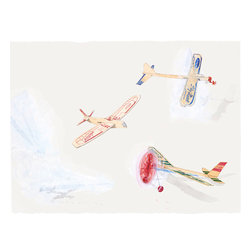 """""""Balsa Planes #4"""" Print by Paul Madonna - This limited edition, museum quality print by artist Paul Madonna would look great in a sophisticated modern space, and the playful subject matter will endear it to your little one."""