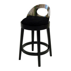 Armen Living - Armen Living Vista 30 Inch Black Microfiber Stationary Barstool - Armen Living - Bar Stools - LC4046BABL30 - The incomparably chic look of the Vista Barstool in black microfiber is sure to elevate the design element in your home. Featuring a polished steel back make a statement that epitomizes sophistication and self-expression in incomparable style.