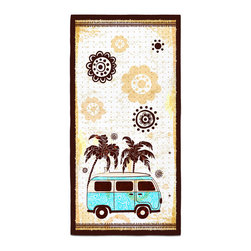 """Eco Friendly """"Surf Bus"""" Bath Towel - Our Bath/Beach Towels are made of a super soft poly fiber fabric with 2mm pile."""