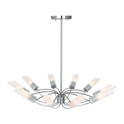 Access Lighting - Access Lighting Solar Modern / Contemporary Chandelier X-TSF/SB-01505 - Stylish with futuristic influence, this chandelier is a conversational piece placed in the center of the room for magnificent ambient lighting. The Access Lighting Solar contemporary chandelier is no ordinary decor accent. It features an ornate metal frame with intertwined arms in a brushed steel finish. The frosted glass shades with angle cut cylindrical shape create additional sophistication to the chandelier.