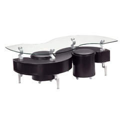 Global Furniture - S-Shaped Coffee Table - Includes top glass, 2 rolling stools and base. Made of glass, MDF, paper veneer and PVC. Two storage compartments (1 on each end). 51 in. W x 26 in. D x 19 in. H