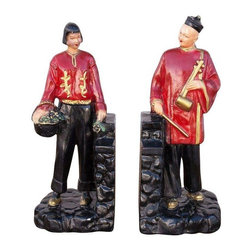 Pre-owned Chinoiserie Bookends - A Pair - Behold this stately pair of vintage, painted chalk ware bookends with red and gold accents. A clever way to flank your collection of travel books!
