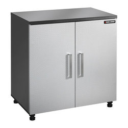 Black & Decker - Black & Decker 31.25 in. Base Cabinet with Adjustable Shelf - Silver - BG105369K - Shop for Cabinets from Hayneedle.com! Crank up the base ... or crank it down with this heavy-duty leveling base cabinet from Black and Decker. The Black & Decker 31.25 in. Base Cabinet with Adjustable Shelf - Silver is just what you need to tidy up your work area. This charcoal and silver cabinet opens on adjustable European hinges to reveal 2 shelves (1 adjustable) that can hold up to 50 lbs. each. And the top surface of the cabinet is a 1-inch melamine work surface so you can tinker away right on the spot. Measures 31.25W x 19.625D x 24.875H inches. Black and DeckerA household name with the reputation for quality and innovation Black & Decker is a leader in small home appliances and number one in a wide range of products for the home. From the kitchen to the garage and beyond Black & Decker is innovating the products that you'll use today and tomorrow.