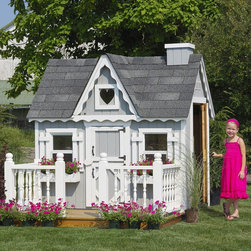 Little Cottage - Playhouse: Little Cottage 4 x 6 Victorian Wood Playhouse - Shop for Tents and Playhouses from Hayneedle.com! Make the ultimate playhouse experience for your children with the Little Cottage 4x6 Wood Victorian Playhouse. This easy-to-assemble house is uniquely designed for fun imaginative play with a beautiful blend of real-life features like working Plexiglass windows two flowerboxes and window shutters. Sized at approximately 6W x 4D x 6H feet this playhouse will grow with your child and will be a memorable part of childhood.The Victorian-inspired design of this cottage appears in every detail from the painted heart-shaped Plexiglass window in front to the gingerbread trim Dutch doors and traditional spindle deck (optional). The house includes two working windows complete with safety glass and screens each measuring 12 x 18 inches. A child's Dutch door opens on the front of the house and measures 16W x 35H inches; an adult Dutch door on the side measures 16W x 47H inches. White aluminum trim for the outside corners is included and all trim and siding is pre-primed and ready for you to paint whatever color you choose.Choose from a variety of configurations based on availability:-Playhouse (plus floor kit) only-Playhouse plus floor kit plus outside deck and rail-Playhouse plus floor kit deck and rail and chimney (as shown)Your playhouse arrives complete with wood wall and truss framing high-quality siding and trim pre-fastened to wall panels and pre-cut paneled sections. Hardware is also included.This playhouse is built from LP Smart Side which is an environmentally friendly renewable material with low environmental impact. Treated with SmartGuard which uses zinc borates to resist rot and mold LP Smart Side is on the cutting edge of building technology today and is a durable and safe alternative that ensures years of enjoyment from your playhouse. Thanks to the durability of this material LP offers a 50-year limited warranty.Shingles dripedge (roof edging) and paint are not included but are available at any local hardware store. If you choose the configuration that includes the deck you will also have to supply three 4 x 4-foot posts for under-floor support.About The Little Cottage CompanyNestled in the heart of Ohio's Amish country The Little Cottage Company resides in a quaint slow-paced setting where old-fashioned craftsmanship and attention to detail have never gone out of style. Our experienced carpenters and skilled designers take great pride in creating top-quality pre-built models and Do-It-Yourself kits of playhouses storage sheds and more.