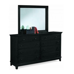 "American Drew 181-130B Triple Dresser- Black Sterling Pointe - Triple Dresser- Black - American Drew Sterling Pointe Collection 181-130BTriple Dresser by American Drew is all there to be an integral part of your dressing room. Having multiple drawers its usage can be diversified according to ones needs. The black finish of the product gives it a bold and impressive look. If you just want to go for the framed mirror you surely can as it is sold separately too. The glass pane used in the mirror is scratch free and stout absolutely resistant to brittleness. The elongated protruding base lets you place numerous things on it. Hence American Drew 181-130B is an ideal purchase for you all. Triple Dresser from Sterling Pointe Collection with Black finish evoke tranquility and timeless charm .It has 8 Drawers .Mirror is sold separately.The dimension of Triple Dresser is 62"" W X 19"" D X 39"" H. It is crafted from Material with Solids Hardwood Maple Poplar Veneers & Simulated Wood Components. Sterling point will capture the essence for your personal life.Features: 8 DrawersThis Price Includes: Triple Dresser onlyMirror sold separately belowItem:Weight:Dimensions:Triple Dresser- Black194 lbs62"" W X 19"" D X 39"" HManufacturer's Materials:Maple and Hardwood SolidsMaple & Poplar Veneers & Simulated Wood Components"