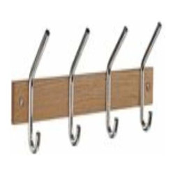 Smedbo - Smedbo Coat & Hat Rack,Quad Oak/Polished Chrome - Smedbo Coat & Hat Rack,Quad Oak/Polished Chrome