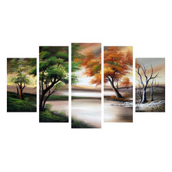 """Fabuart - """"Change of Seasons"""" - Forest Art Painting - 60 x 32in - This beautiful Art is 100% hand-painted on canvas by one of our professional artists. Our experienced artists start with a blank canvas and paint each and every brushstroke by hand."""