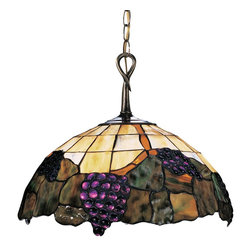 Elk Lighting - Elk Lighting Grapevine Traditional Tiffany Pendant Light X-AV-722 - Warm honey dune glass in a windowpane style creates a backdrop for the grapevine accents in the Landmark Lighting Grapevine Series. Vintage Antique Finish and Aged Patina look make this pendant ideal for your wine cellars, dining areas or restaurant. Do not miss the other members of the Grapevine collection to add to adjacent rooms and spaces.