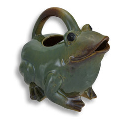Zeckos - Decorative Green Ceramic Frog Watering Can 9 In. - This decorative frog watering can adds an adorable accent to plant stands and tables on your porch or patio. Made of ceramic, it measures 9 inches tall (including the handle), 9 inches long, and 7 inches wide. The exterior is hand painted in shades of green with brown accents and has a glossy glazed finish. This piece makes a great gift for gardeners, or a cute housewarming gift for a frog loving friend.