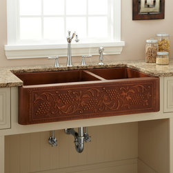 "39"" Vineyard 70/30 Offset Double-Bowl Copper Farmhouse Sink - A charming grapevine design adds rustic charm to the Vineyard Copper Farmhouse Sink, which features a convenient 70/30 offset configuration."