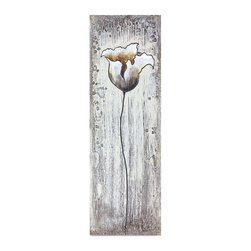 """Vertuu Design - 'Bloom I' Artwork - Create a dramatic look in your living room or bedroom with the """"Bloom I"""" Artwork. Featuring a tall, shaded flower against a white and gray textured background, this hand-painted multimedia canvas works well with both bold and neutral color schemes. Silver leaf accents add shine to the piece. Display it on its own or pair it with its sister piece, """"Bloom II."""""""
