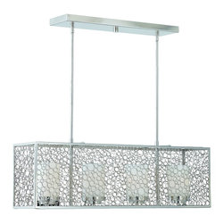 """Triarch - Triarch Contempo Contempo Island Light X-70593 - Modern and playful, this contemporary collection wraps a laced chrome """"box"""" of circles around white tubular glass for a fresh and airy look.  Contempo 4 light island light in a chrome finish with frosted white glass."""