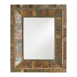 Currey and Company - Devotee Mirror - Constructed from reclaimed wood, the materials for this mirror were collected and refurbished from old house shutters. The Devotee mirror is weathered in style and ranging in color.