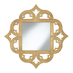 "Cinnabar Road - Openwork Nance Gold Diamond Cutout 35 1/4"" x 35 1/4"" Wall Mirror - Add an elegant touch to any space with this openwork designed wall mirror. An antique gold finish provides a distressed look for an antiqued touch. A diamond shape with a curved border detail completes the look. Gold wall mirror. Design by Cinnabar Road. MDF frame. Antique gold with clay wash. Distressed look. Openwork frame. 35 1/4"" wide. 35 1/4"" high. Mirror only measures 18"" wide 18"" high.  Gold wall mirror.  Design by Cinnabar Road.  MDF frame.  Antique gold with clay wash.  Distressed look.  Openwork frame.  35 1/4"" wide.  35 1/4"" high.  Mirror only measures 18"" wide 18"" high."