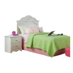 Standard Furniture - Standard Furniture Daphne 2-Piece Headboard Bedroom Set in White - Daphne's soft white finish, curvy feminine shapes and delicate floral ornaments makes this charming Victorian cottage group perfect for every little girl's dream room.
