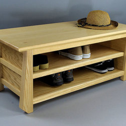 Japanese Tansu Style Shoe Storage Bench by Woodistry - This Japanese-inspired shoe rack brings a subtle Asian flair to the entryway. I love multifunctional pieces, like this one that you can use it as a bench too. It would look cute with Japanese pillows.