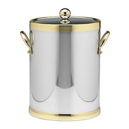 Kraftware - Americano 5-qt. Ice Bucket in Shiny Chrome and Brass - Metal side handles. Made in USA. 10 in. Dia. x 12 in. H (4 lbs.)The Grant Signature Home Collection's Americano Collection is the only Real Metal Collection in the U.S.A. This is real home entertaining quality at affordable prices.