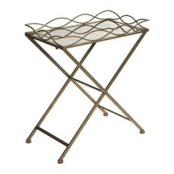 Gold and Mirror Metal Tray Table - *The Josephine Metal Tray Table's elegant gold and mirrored top make it the perfect statement piece fit for any room.