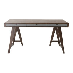 Eurø Style - Daniel Walnut/Gray Desk with 3 Drawers - Features: