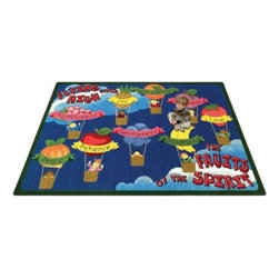 Joy Carpets Fruits of the Spirit Kids Area Rug - This cheerful Fruits of the Spirit Carpet is fun to look at and play on. Best of all it helps kids learn about this important Biblical concept and shows them the right way to treat others. This carpet is ideal for Sunday schools!Sizes available3 feet 10 inches x 5 feet 4 inches5 feet 4 inches x 7 feet 8 inches (rectangular)7 feet 8 inches x 10 feet 9 inches (rectangular)10 feet 9 inches x 13 feet 2 inches (rectangular)This carpet features SoftFlex backing which is an air-texturized polypropylene secondary backing that's designed to withstand the most demanding situations. SoftFlex is woven tightly yet is still extremely flexible which helps eliminate wrinkles and provide superior protection and insulation underfoot.JoyTuff carpets are Stainmaster-protected and ideal for home or office use. They are constructed from Stainmaster BCF Type 6 6 two-ply nylon and feature advanced protection against stain and soil as well as Impervion mold and mildew protection. This carpet is bound and serged for maximum durability and features a SoftFlex back plus a Class I Flammability rating. To maintain simply vacuum regularly and use hot water extraction cleaning as required.This carpet includes the following warranties:Lifetime limited wear warrantyLifetime limited antimicrobial protectionLifetime limited static protection10-year limited dual technology soil and stain protectionDedicated to Environmental StewardshipJoy Carpets understands the importance of environmental stewardship and its relationship to a successful business. We are committed to operating our facilities in an environmentally sustainable manner and in a manner that protects the health and safety of our associates and the public.Our environmental commitment is driven by a holistic approach to sustainable operations not simply focusing on recycling alone. Joy Carpets reaches beyond recycling in an effort to reduce our company's environmental footprint. Our vision and progress to achieving the goal of full sustainability focuses on the following:Environmentally friendly productsReview of our products' supply chainExtending product life cycleUse of recycled packagingReducing waste to landfillReducing energy consumption and water usageUse of alternative energy sources'No carpet to landfill' commitmentRecycling carpet into new productsDonating carpet for charitable re-useAdditionally Joy Carpets is committed to establishing a strong foundation of environmental values with our families associates and communities to ensure the long-term conservation of our earth's natural resources.About Joy CarpetsJoy Carpets is the leader in specialty broadloom modular carpet Carpets and mats in creative and eye-catching designs. Joy takes pride in providing first-rate floor coverings for residential educational hospitality healthcare and commercial markets. The pioneer of fine gauge tufting Joy Carpets introduced the first recreational carpeting to the industry in 1973 and since that time has been known for their commitment to cutting edge technology and design. Joy Carpets are proudly made in the United States and sold worldwide. Choose Joy Carpets for superior service and unique fun products that enhance your decor and give you fantastic flooring in an instant.