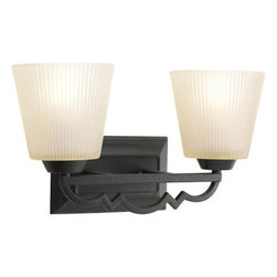 Progress Lighting - Meeting Street Forged Black Two-Light Bath Fixture with Etched Ivory Pleated Gla - - Two-light bath  - Two Light Bath  - Glass: Etched ivory pleated  - Height From Center Box: 6.31-Inch  - Branding: Thomasville Lighting  - Finish/Color: Forged Black  - Product Width: 15.75  - Product Height: 8.75  - Product Height: 8.75  - Product Weight: 7  - Product Dept: 15.75  - Product Extension: 6.87  - Material: Metal and Glass  - Bulb NOT included Progress Lighting - 942023-80