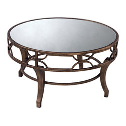 Sterling Industries - Sterling Industries 6043728 Treviso Coffee Table - Antiqued Gold Washed Metal Makes This Coffee Table Sturdy And Chic. Partner The Iron With Overstuffed Upholstery To Give Any Room An Eclectic Look. Mirrored Top.  Coffee Table (1)