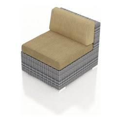 Harmonia Living - Urbana Modern Outdoor Sectional Middle, Weathered Stone Wicker, Heather Beige Cu - The Harmonia Living Urbana Modern Wicker Outdoor Sectional Middle Section with Tan Sunbrella cushions (SKU HL-URBNWS-MS-HB) is the perfect piece for expanding your own stylish Urbana modern patio sectional set. Covered in High-Density Polyethylene (HDPE) wicker, this sectional piece has fade-resistant color designed to withstand the elements. The outdoor wicker sectional piece is constructed with a sturdy, thick-gauged aluminum frame, protected with a powder coating for even greater corrosion resistance. The seats are also reinforced to provide support and prevent excessive wicker stretching from repeated use. Both seat and back cushions are included, with fade- and mildew-resistant Sunbrella fabric in Canvas Heather Beige.