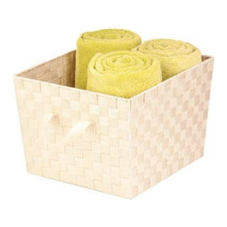 """Large Woven Strap Tote, Cr-Me - Honey-Can-Do STO-02983 Double Woven Task-It Basket, Creme. Constructed of durable and easy-to-clean strapping, this basket adds a unique style to any room that is in need of some extra storage. And at 15"""" x 13"""" x 10"""", it is large enough for your household essentials but still fits in a closet or on a shelf. Attached handles make carrying the basket simple and convenient. Coordinates with our Honey-Can-Do task-it baskets in other sizes and colors."""