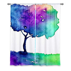 """DiaNoche Designs - Window Curtains Unlined by Brazen Design Studio - Hue Tree II - Purchasing window curtains just got easier and better! Create a designer look to any of your living spaces with our decorative and unique """"Unlined Window Curtains."""" Perfect for the living room, dining room or bedroom, these artistic curtains are an easy and inexpensive way to add color and style when decorating your home.  This is a tight woven poly material that filters outside light and creates a privacy barrier.  Each package includes two easy-to-hang, 3 inch diameter pole-pocket curtain panels.  The width listed is the total measurement of the two panels.  Curtain rod sold separately. Easy care, machine wash cold, tumbles dry low, iron low if needed.  Made in USA and Imported."""