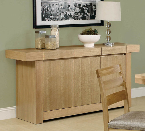 Monarch - 67in.L Server in Natural Oak Veneer - This natural oak veneer server would be an excellent addition to your dining room. The spacious top surface is ideal for a lamp, a buffet of food, or simply your desired collectibles. This transitional piece also features clean lines, and three cabinets and drawers to fulfill your storage needs.