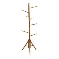 Bamboo54 - Bamboo Clothes Rack - 8 hanging arms. Solid Bamboo. Base: 15 in. Dia. x 67 in. H