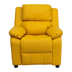 "Flash Furniture - Deluxe Heavily Padded Contemporary Yellow Vinyl Kids Recliner - Kids will now be able to enjoy the comfort that adults experience with a comfortable recliner that was made just for them! This chair features a strong wood frame with soft foam and then enveloped in durable vinyl upholstery for your active child. Choose from an array of colors that will best suit your child's personality or bedroom. This petite sized recliner features storage arms so kids can store items away and retrieve at their convenience.; Child's Recliner; Overstuffed Padding for Comfort; Additional Headrest Cover Included; Yellow Vinyl Upholstery; Easy to Clean Upholstery with Damp Cloth; Flip-Up Storage Arms; Storage Arm Size: 3.25""W x 6""D x 11""H; Solid Hardwood Frame; Raised Black Plastic Feet; Intended use for Children Ages 3-9; 90 lb. Weight Limit; Meets or Exceeds CA117 Fire Resistance Standards; Safety Feature: Will not recline unless child is in seated position and pulls ottoman 1"" out and then reclines; Assembly Required: Yes; Country of Origin: China; Warranty: 2 Years; Weight: 29 lbs.; Dimensions: 28""H x 25""W x 26 - 39""D"