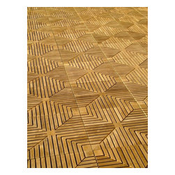 Westminster Teak Furniture - Westminster Teak Flooring Tiles - 50 Square Feet of All Weather Teak Patio Tiles in Diamond Style. For decks, Patios, Bath, Spa and Marine use.