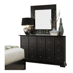 Broyhill - Broyhill Perspectives 9 Drawer Dresser and Lattice Mirror Set in Graphite - Broyhill - Dressers - 44442304444236Set