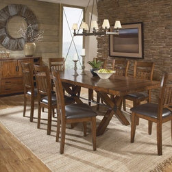 Homelegance Vasquez 7 PCs.Oak Dining Set 2504-96 - Two end extension leaves feature grain that runs perpendicular to the main acacia veneered table top, lending a unique look to the collection.