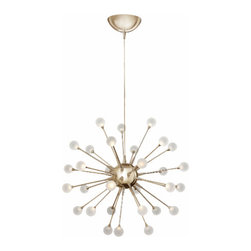 Fredrick Ramond - Impulse Suspension - Impulse Suspension is available in a Cloud, Polished Chrome or Polished Gold finish with Etched Acrylic glass.  Thirty .5 watt, 120 volt LED lamps are included. 24 inch width x 24 inch height.