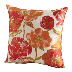 Cyan Design - Cyan Design Flower Power Pillow X-12560 - A classic floral pattern has been set against an ivory backdrop for an elegant feel to this Cyan Design decorative pillow. From the Flower Power Collection, this delightful design features vibrant flowers in shades of brilliant orange and raspberry red.