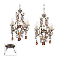 """Lamps Plus - Traditional Leila Gold and Bronze Double Multi Light Pendant - Our multi swag chandeliers let you add designer lighting to any room. The special swag canopy installs into any ceiling junction box just like a normal ceiling light or chandelier. Install hooks in the ceiling and swag the chain to the canopy; adjust the hanging length as desired. With the hanging options you can get the exact look and light placement you need. This version features a bronze finish double swag canopy. It's paired with two designer antique gold finish Leila mini chandeliers with amber and clear accents. Multi swag chandelier. With two designer Leila mini chandeliers. Includes bronze finish special canopy adaptor. Installs into any ceiling junction box. Includes swag hooks and mounting hardware. Each mini chandelier includes 12 feet chain 15 feet lead wire. Takes eight 25 watt candelabra bulbs (not included). Canopy is 7"""" wide. Each mini chandelier is 14 1/2"""" wide 17"""" high. Some assembly required; instructions included.  Multi light pendant swag style.  With two designer Leila mini chandeliers.  Includes bronze finish special canopy adaptor.  Installs into any ceiling junction box.  Includes swag hooks and mounting hardware.  Each mini chandelier includes 12 feet chain 15 feet lead wire.  Takes eight 25 watt candelabra bulbs (not included).  Canopy is 7"""" wide.  Each mini chandelier is 14 1/2"""" wide 17"""" high.   Some assembly required; instructions included."""