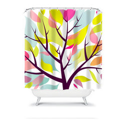 Shower Curtain Tree Plum Lime 71x74 Bathroom Decor Made in the USA - DETAILS: