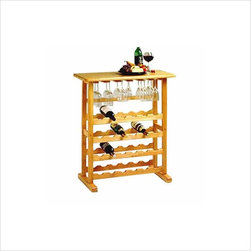 Winsome - Winsome Basics 24-Bottle Wine Rack in Beech - Winsome - Wine Racks - 83024 - Simple traditional in design and with space for 24 bottles and stemware the basics wine rack is ideal for use when entertaining as it can be easily moved to a common area. Its polished design is attractive yet discrete and an overhang table top provides more than ample serving space.