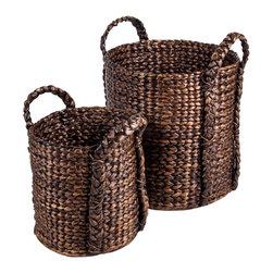 New Rustics - New Rustics Patina Bucket Water Hyacinth Basket Set of 2 in Patina Stain - The Patina collection utilizes bamboo, rattan, and water hyacinth, as well as metal, to create baskets, vases, candleholders, and mirrors in interesting shapes and sizes. Richly colored stains and patina finishes add depth and elegance to these items, making a one-of-a-kind impression.