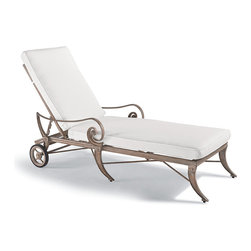 Frontgate - Athens Outdoor Chaise Lounge with Cushion - Solid cast aluminum frame. Hand-rubbed finish is formulated to weather the elements. Cushions are constructed of a high-resiliency foam core with soft polyester wrap. Finished with 100% solution dyed fabric covers that resist mold, mildew and fading. Wheeled chaise is easy to move around a patio or pool deck. Crafted in sold cast aluminum, the gracious and generously scaled chaise lounge is the perfect complement to our Athens Seating Collection. The outswept tapered legs flow in one continuous curve, tapering elegantly as they reach the floor.Part of the Athens Collection.  .  .  .  .  . Adjusts to four positions, from upright to fully reclined .
